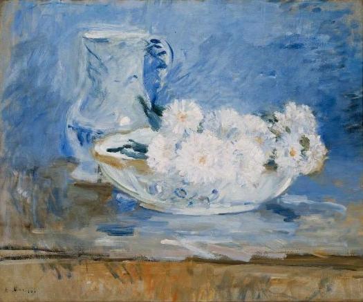 Flores Blancas en una Fuente, h. 1888, Berthe Morisot