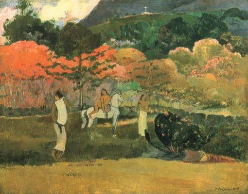 Mujer y Caballo Blanco, 1903, Paul Gauguin