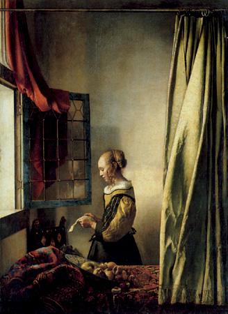 Mujer leyendo una carta frente a una ventana abierta,1657