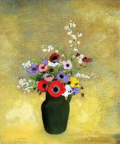 Jarrón verde con flores, h. 1910, Odilon Redon
