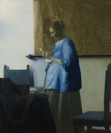 Mujer de azul leyendo una carta, 1662 – 1664