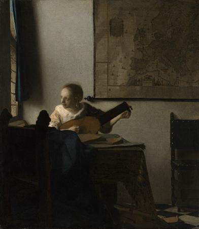 Mujer tocando el laúd frente a la ventana, 1664