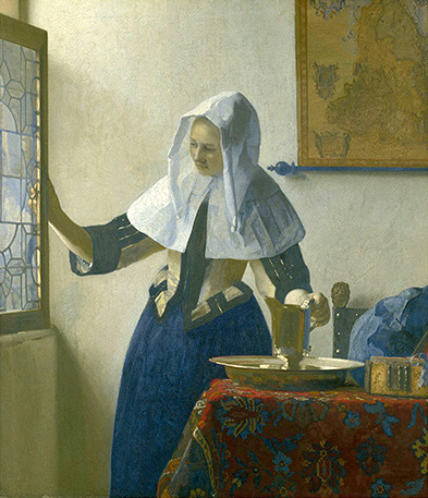 Mujer con jarro de agua, 1664-1665