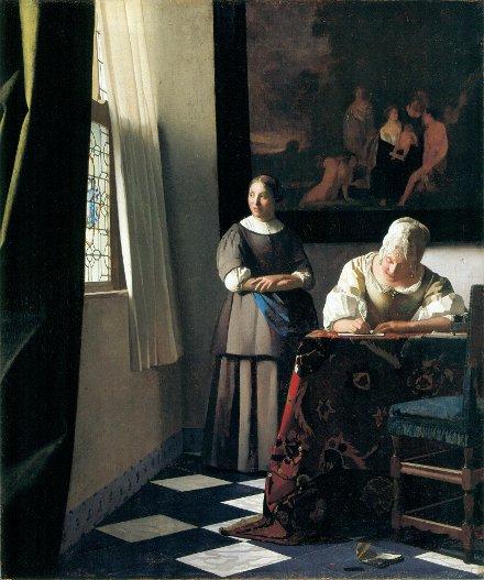 Dama escribiendo una carta y su criada, 1670