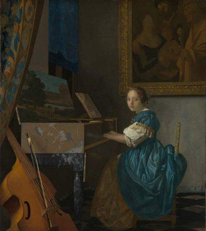 Mujer sentada ante el virginal,  1673-1675