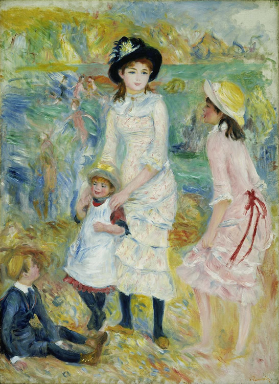 Niños a la Orilla del Mar, Guernsey, 1883,  Pierre Auguste Renoir