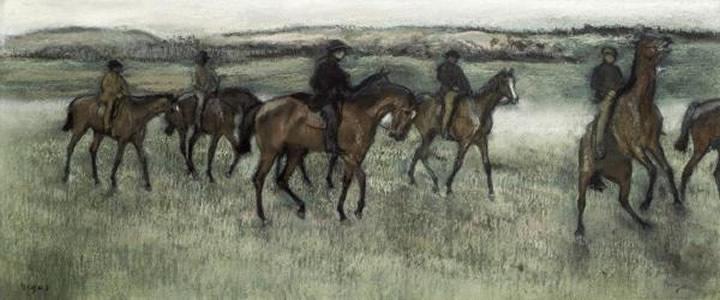 Caballos de Carrera Ejercitando, 1880,  Edgar Degas
